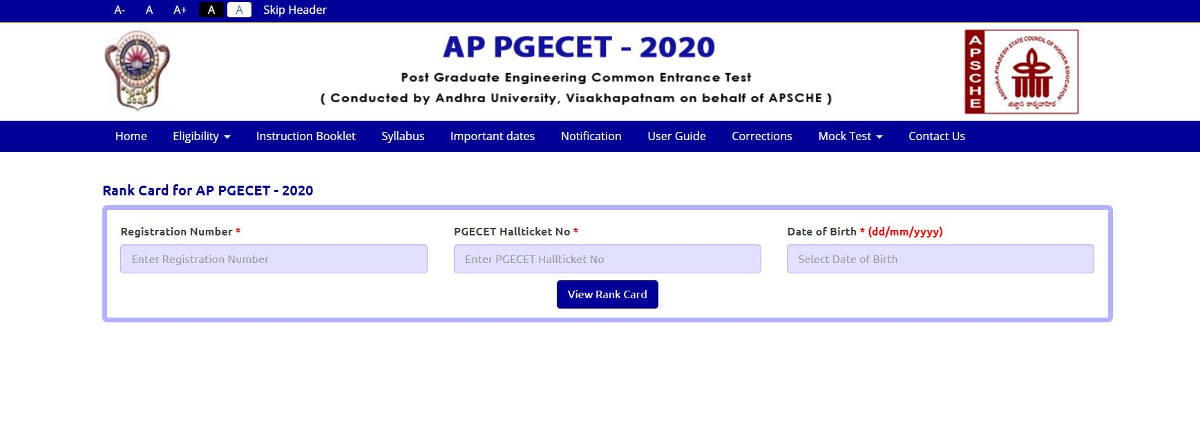 AP PGECCET 2020 Rank Card Released @sche.ap.gov.in