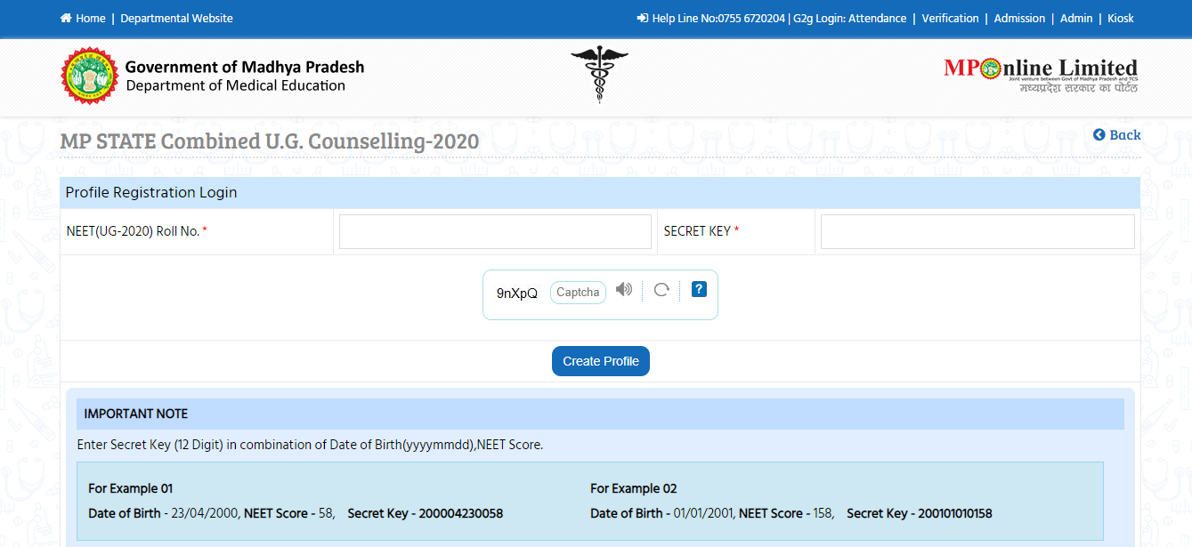 Last Date to Register for MP NEET-UG Counselling 2020 is 10 November 2020