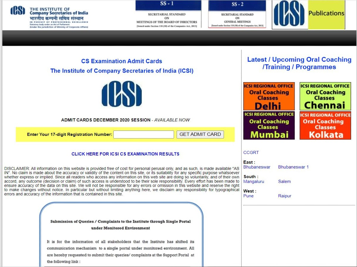 ICSI CS Foundation Admit Card 2020 Released @www.icsi.edu