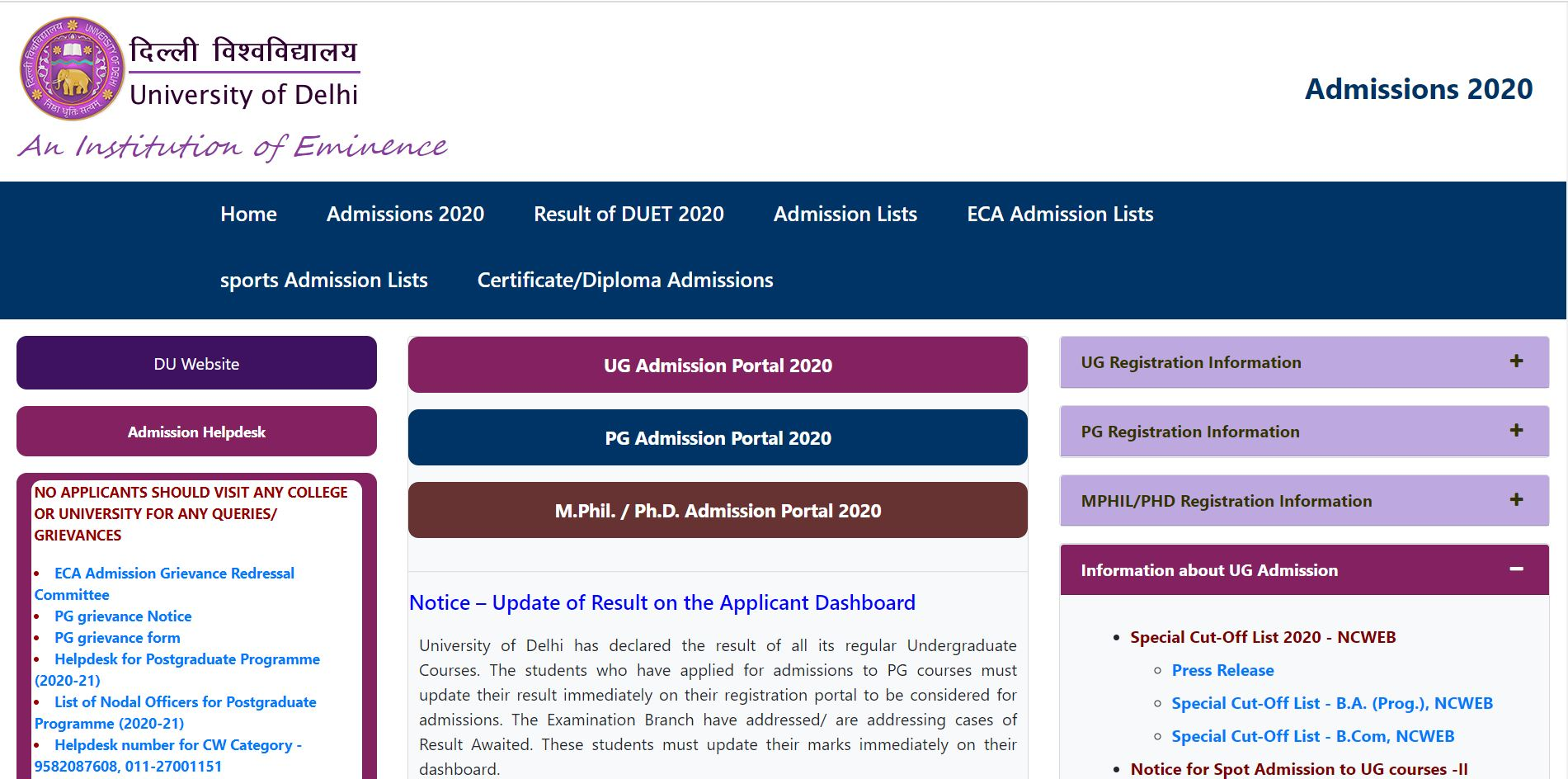 DU NCWEB 2020 Special Cut-off List Released for B.Com and B.A Program; Check Merit List @du.ac.in