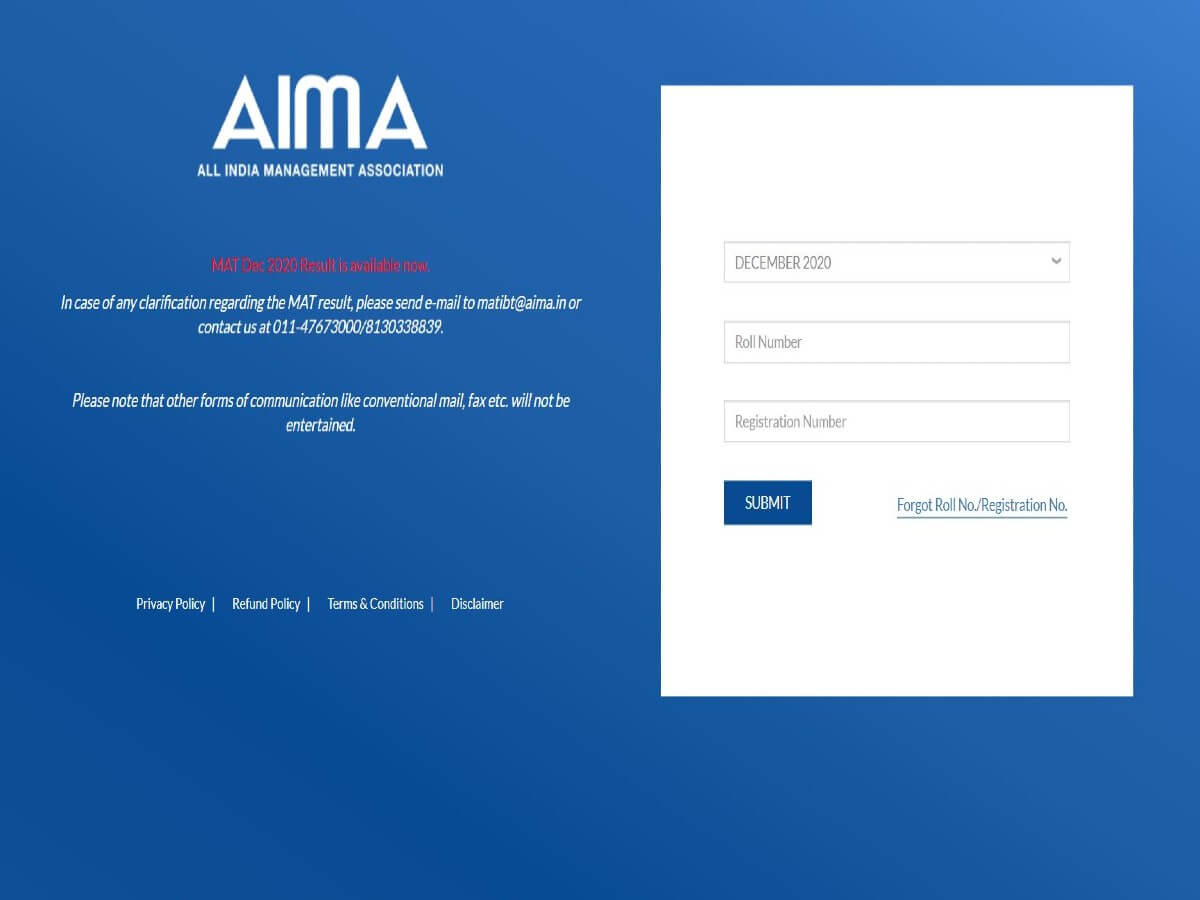 MAT December 2020 Result Declared @mat.aima.in