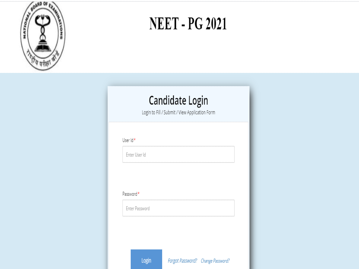 NBE Opened NEET PG 2021 Application Form Correction Window